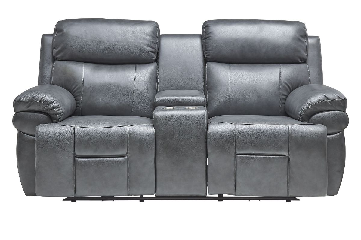 Vega Leather Triple Power Reclining Console Loveseat with Heat & Massage from Gardner-White Furniture