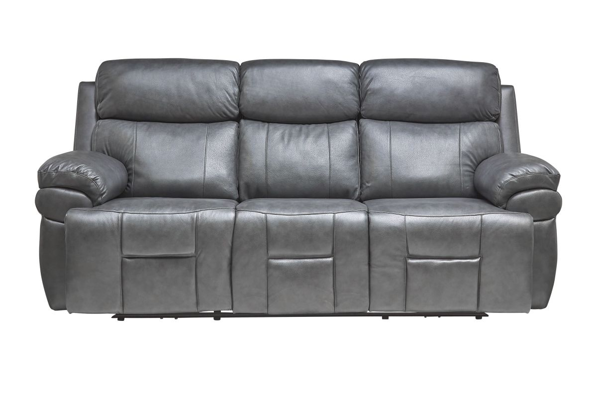 Vega Leather Triple Power Reclining Sofa with Drop Down Table, Heat & Massage from Gardner-White Furniture