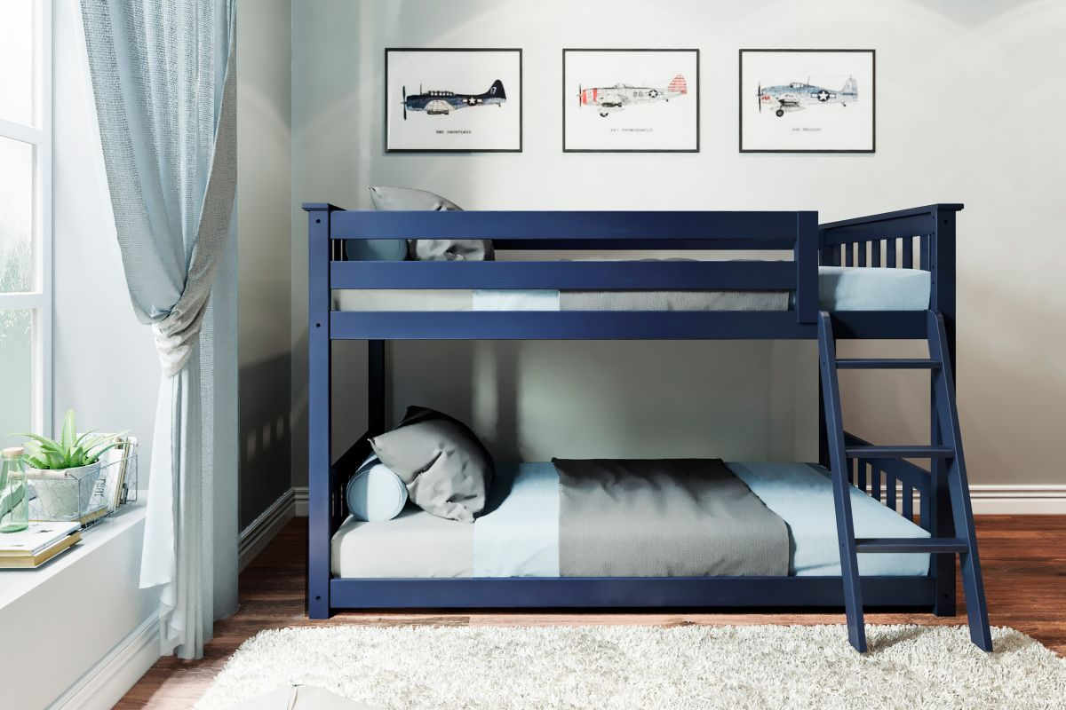 Charlie Blue Twin-Over-Twin Low Bunk Bed from Gardner-White Furniture